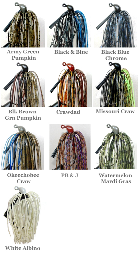 BassTEK Tungsten Jig Color Chart
